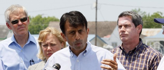 Louisiana Gov. Bobby Jindal, left of center, speaks at a press conference in Galliano, La., Monday, May 24, 2010. Standing behind Jindal are Sen. Jeff Bingaman, D-NM, Sen. Mary Landrieu, D-La., Sen. David Vitter, R-La. and Interior Secretary Ken Salazar. The cabinet secretaries joined a bipartisan Senate delegation on a flyover of areas affected by oil from last month