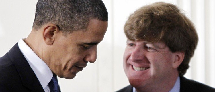 President Barack Obama speaks with Rep. Patrick Kennedy, D-R.I., in the East Room of the White House in Washington, Tuesday, March 23, 2010, after he signed the health care bill. (AP Photo/Charles Dharapak)