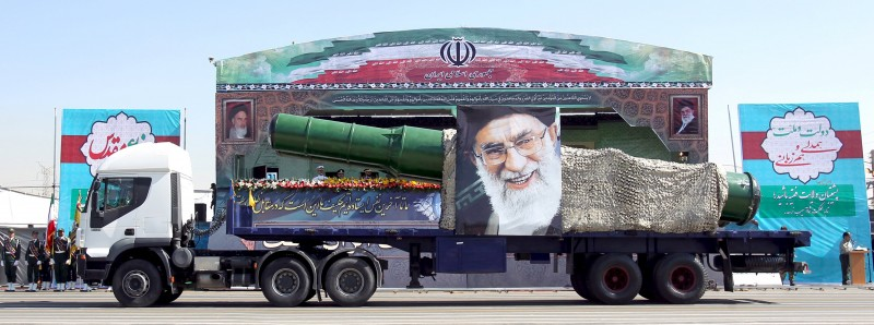 File photo of a military truck carrying a missile and a picture of Iran's Supreme Leader Ayatollah Ali Khamenei during a parade in Tehran