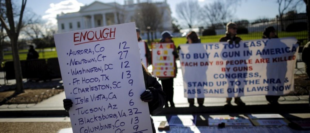 Gun control activists rally in front of the White House in Washington, January 4, 2016. REUTERS/Carlos Barria