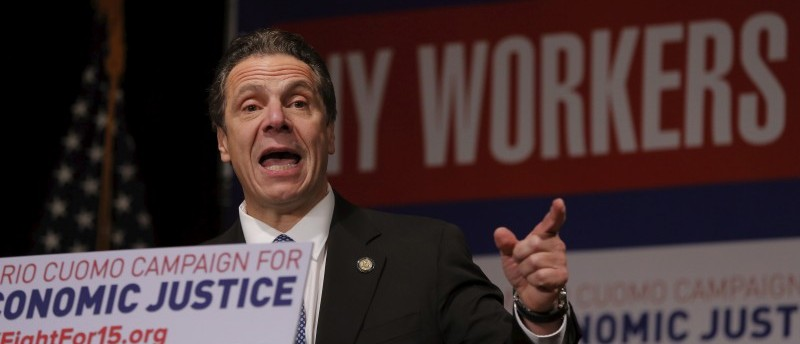 New York Governor Cuomo speaks at a union rally for higher minimum wages in New York