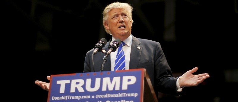 Republican presidential candidate Donald Trump speaks during a campaign event in Rock Hill