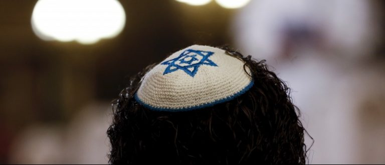 A member of Jewish community attends Pope Francis' visit at Rome's Great Synagogue