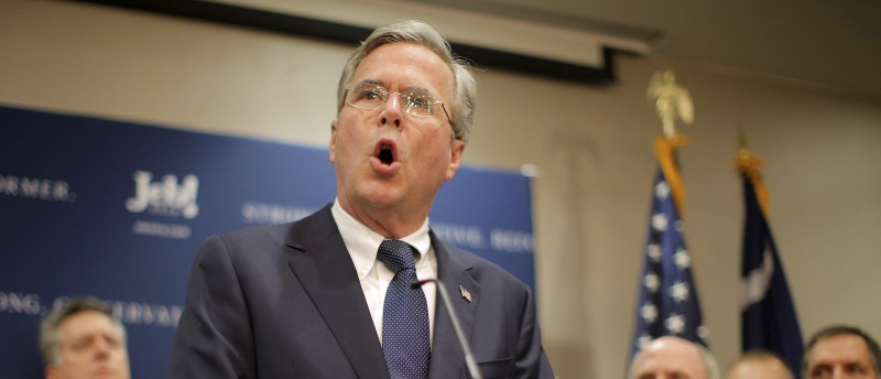 Republican presidential candidate Jeb Bush speaks after being endorsed by Senator Lindsey Graham in North Charleston