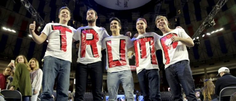 Liberty University students and supporters of Republican presidential candidate Donald Trump wear letters spelling his name before his speech at Liberty University in Lynchburg, Virginia.