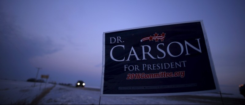 A campaign sign for Ben Carson is seen on the side of the road in Clear Lake, Iowa, January 16, 2016. REUTERS/Jim Young