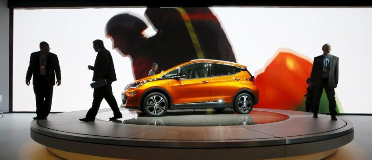 A Chevrolet Bolt EV electric vehicle is displayed at the North American International Auto Show in Detroit, in this file photo taken January 12, 2016.