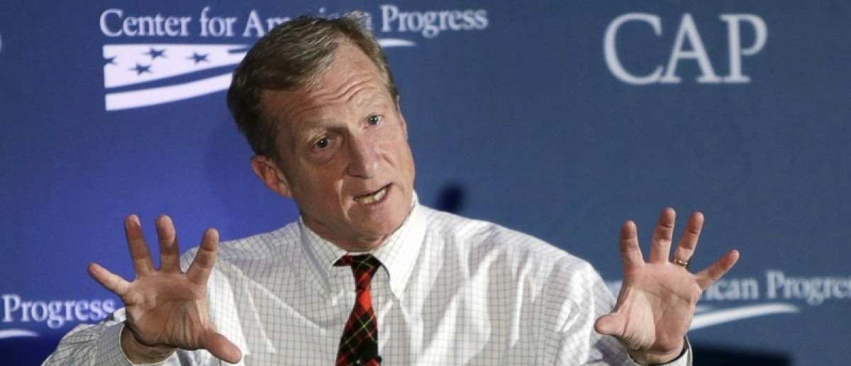 Investor, philanthropist and environmentalist Tom Steyer speaks at the Center for American Progress' 2014 Making Progress Policy Conference in Washington, in this November 19, 2014 file photo. REUTERS/Gary Cameron/Files