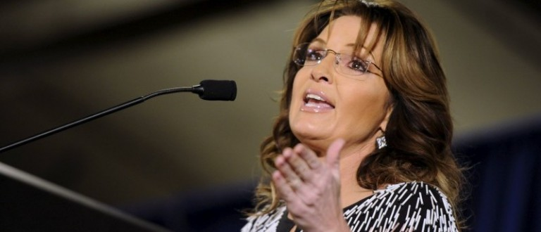 Former Alaska Gov. Sarah Palin speaks at a rally endorsing Donald Trump for president at Iowa State University in Ames, Iowa