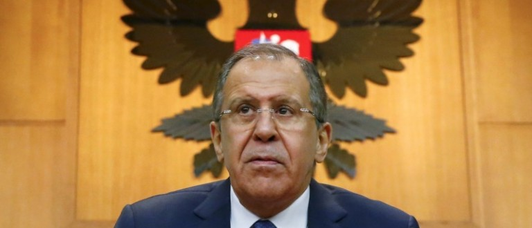 Russian Foreign Minister Lavrov leaves after giving a news conference in Moscow