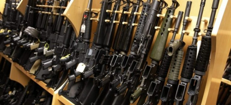 AR-15 rifles line a shelf in the gun library at the U.S. Bureau of Alcohol, Tobacco and Firearms National Tracing Center in Martinsburg, West Virginia December 15, 2015. REUTERS/Jonathan Ernst