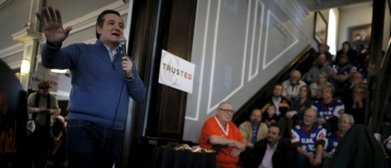 U.S. Republican presidential candidate Ted Cruz speaks at a campaign event in Centerville