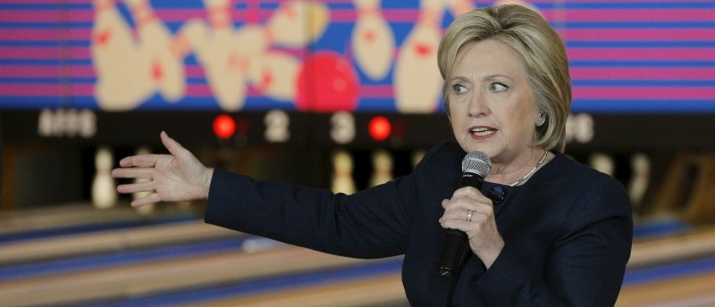 Democratic presidential candidate Hillary Clinton speaks at a campaign stop at the Family Fun Center in Adel