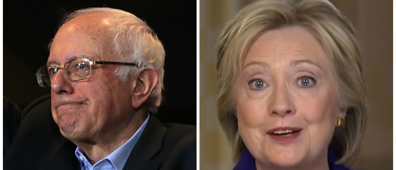 Bernie Sanders Hillary Clinton Is The Problem [images via Getty and screen shot ABC]