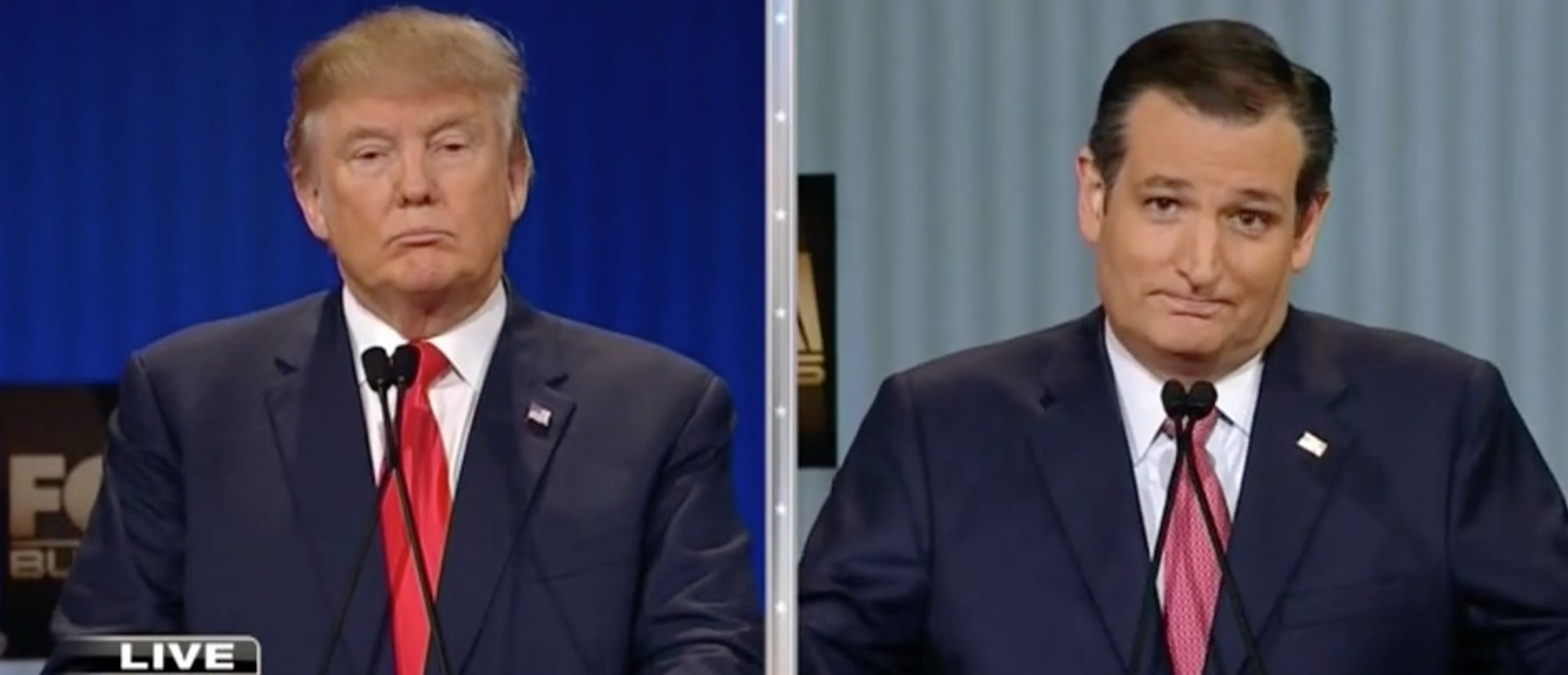 Donald Trump Shuts Down Ted Cruz's Criticism Of His 'New York Values' [screen shot FBN]