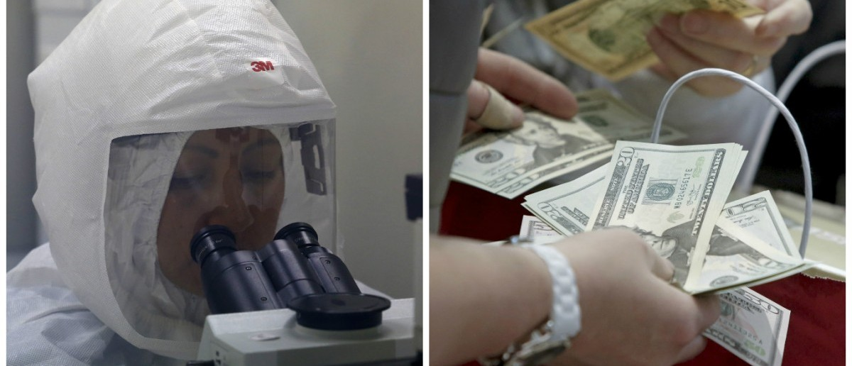 L: A doctor looks into a microscope (REUTERS/ Mariana Bazo). R: People count money. (REUTERS/Andrew Kelly)