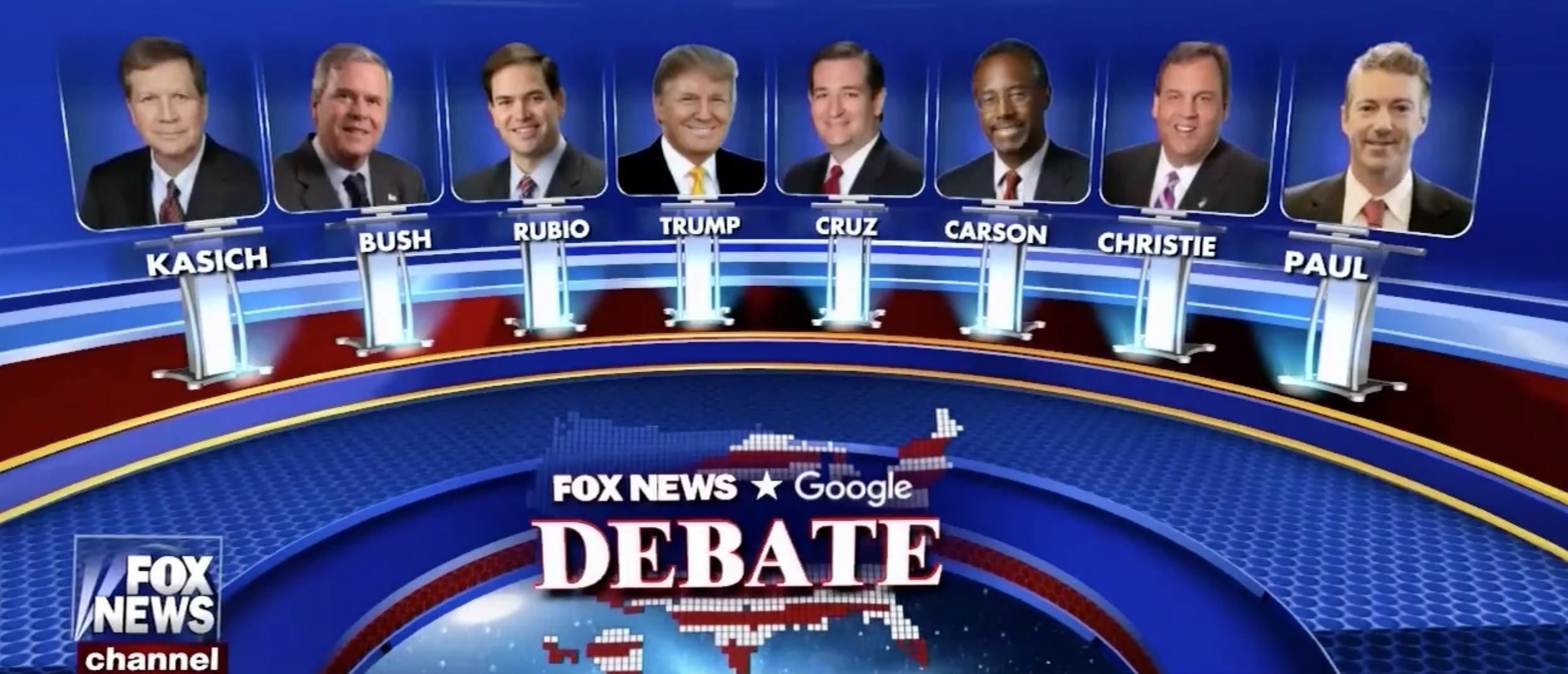 Fox News Debate Lineup Set [screen shot Fox News]