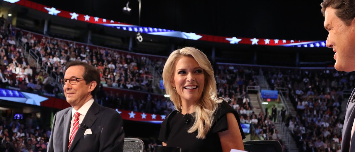 Fox News Channel debate moderators Wallace, Kelly and Baier start the first official Republican presidential candidates debate of the 2016 U.S. presidential campaign in Cleveland