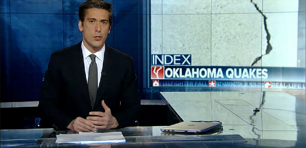 ABC's World News Tonight With David Muir Thursday makes a statement attempting to link Oklahoma earthquakes directly to fracking. (Screenshot/ABC News)