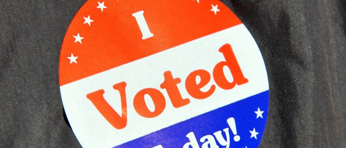 A voting sticker  (Photo credit should read EVA HAMBACH/AFP/Getty Images)