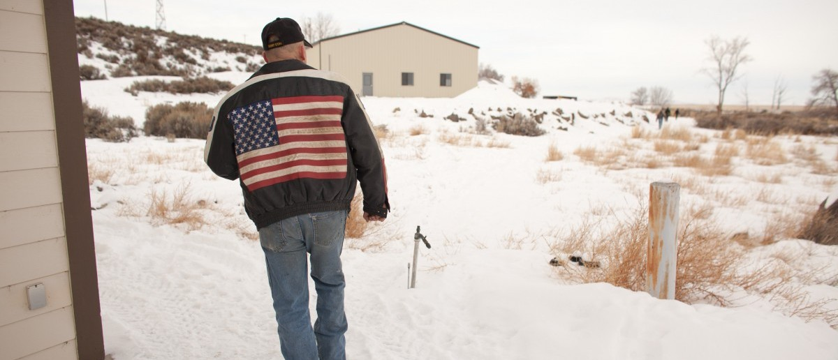 Duane Ehmer of Irrigon, Oregon, member of an armed anti-government militia, walks near a building at the Malheur National Wildlife Refuge Headquarters near Burns, Oregon January 4, 2016. (ROB KERR/AFP/Getty Images)