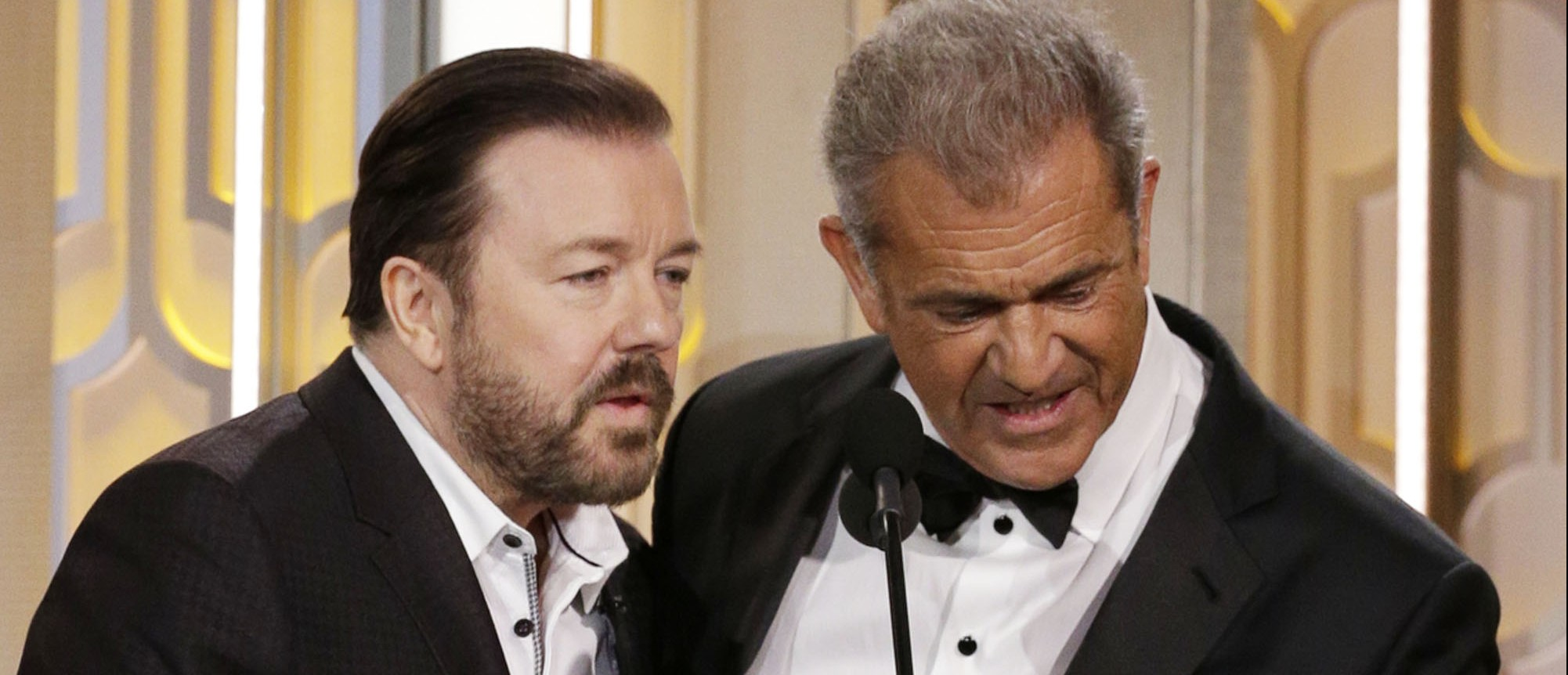 What Ricky Gervais said to Mel Gibson. (Photo: Getty Images)