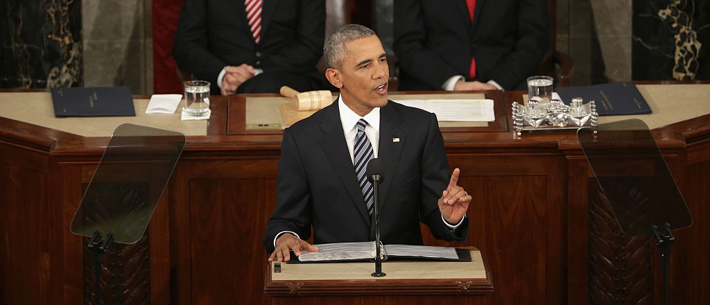 WASHINGTON, DC - JANUARY 12:  delivers the State of the Union speech before members of Congress in the House chamber of the U.S. Capitol January 12, 2016 in Washington, DC. In his last State of the Union, President Obama reflected on the past seven years in office and spoke on topics including climate change, gun control, immigration and income inequality. (Photo by Alex Wong/Getty Images)