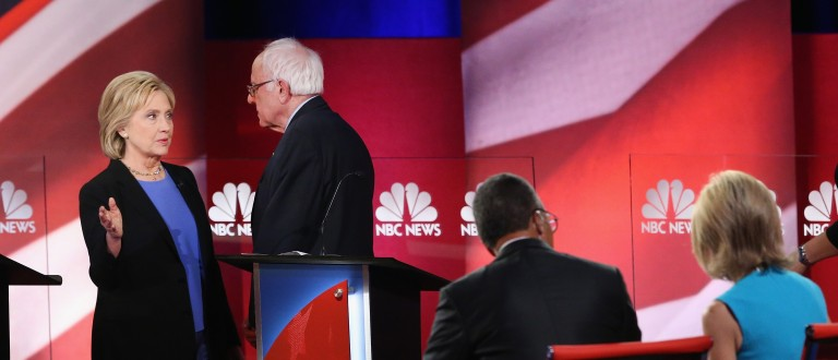 CHARLESTON, SC - JANUARY 17:  Democratic presidential candidates Hillary Clinton (L) and Senator Bernie Sanders (I-VT) chat following the Democratic Candidates Debate hosted by NBC News and YouTube on January 17, 2016 in Charleston, South Carolina. This is the final debate for the Democratic candidates before the Iowa caucuses.  (Photo by Andrew Burton/Getty Images)
