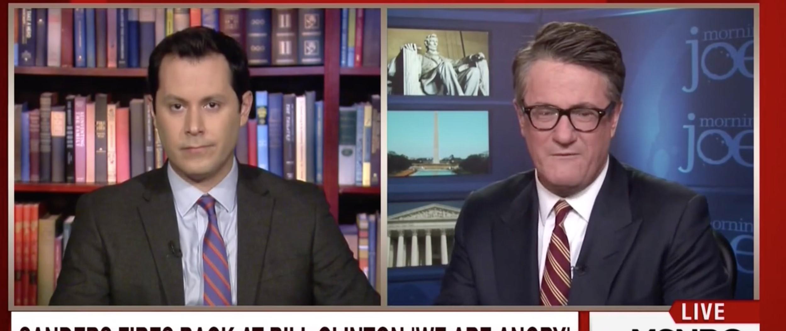 Joe Scarborough Blasts 'Loser' Bill Clinton For Attacking Bernie Sanders [screen shot MSNBC]