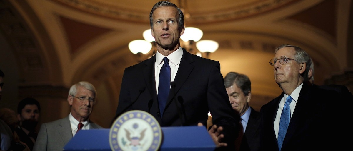 Sen. John Thune (R-SD) speaks during a news conference accompanied by (L-R) Senator Roger Wicker, Roy Blunt (R-MO) and Senate Majority Leader Senator Mitch McConnell (R-KY) following party policy lunch meeting at the U.S. Capitol in Washington Aug. 4, 2015