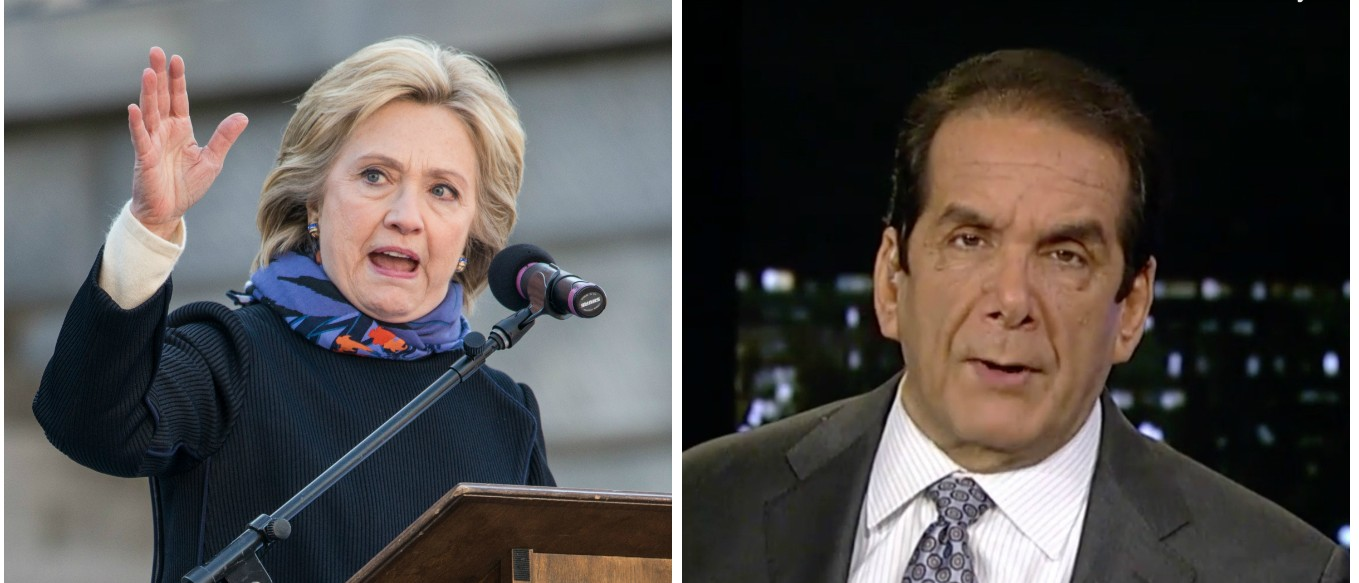 Krauthammer: Hillary's Defense Of Top Secret Email Is Reminiscent Of The Lewinsky Scandal [images via Getty and Screen shot Fox News]