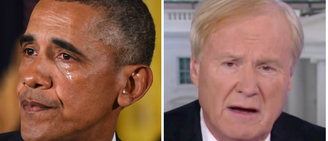 MSNBC's Chris Matthews Hails the Real Liberals, The Ones Who 'Cry Sometimes' [images via Getty and MSNBC]