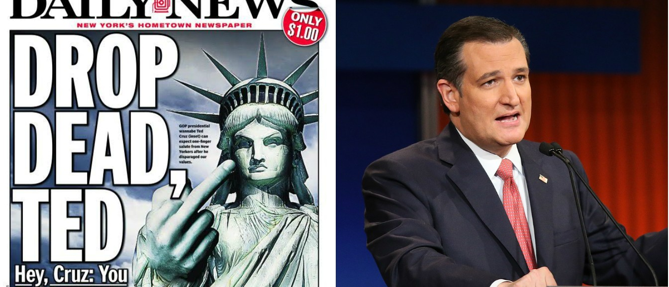NY Daily News Tells Cruz To 'Drop Dead' [Images via NY Daily News Getty]