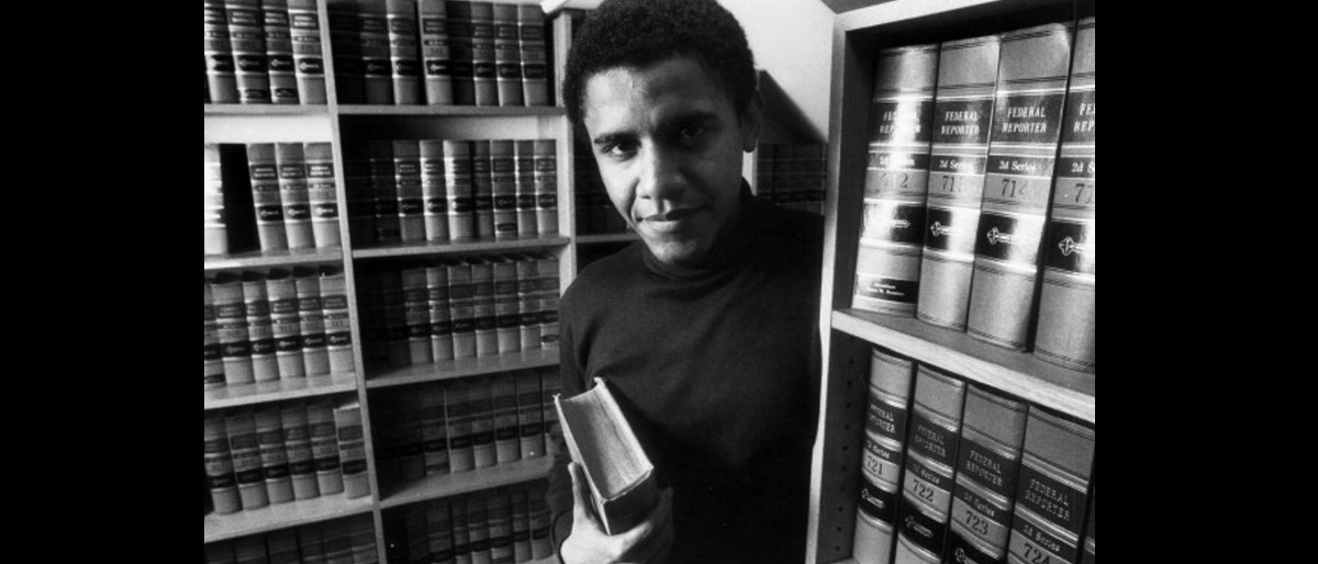 Young Barack Obama in law stacks Getty Images/Boston Globe