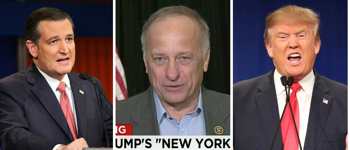 Rep. Steve King--Who Endorsed Cruz--Praises Trump For 'New York Values' Answer [images via Getty, Screenshot CNN, Getty]