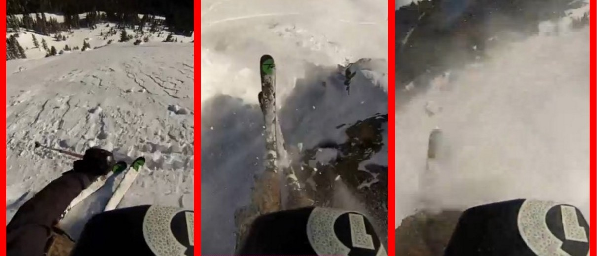 GoPro Ski Bro Shreds Fresh Powder Off A Cliff ... Right Into An Avalanche (screenshot: BroBible)