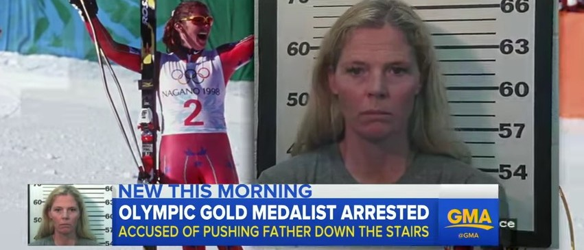 Olympic Ski Champ Arrested For Pushing Father Downhill A Flight Of Stairs (YouTube)