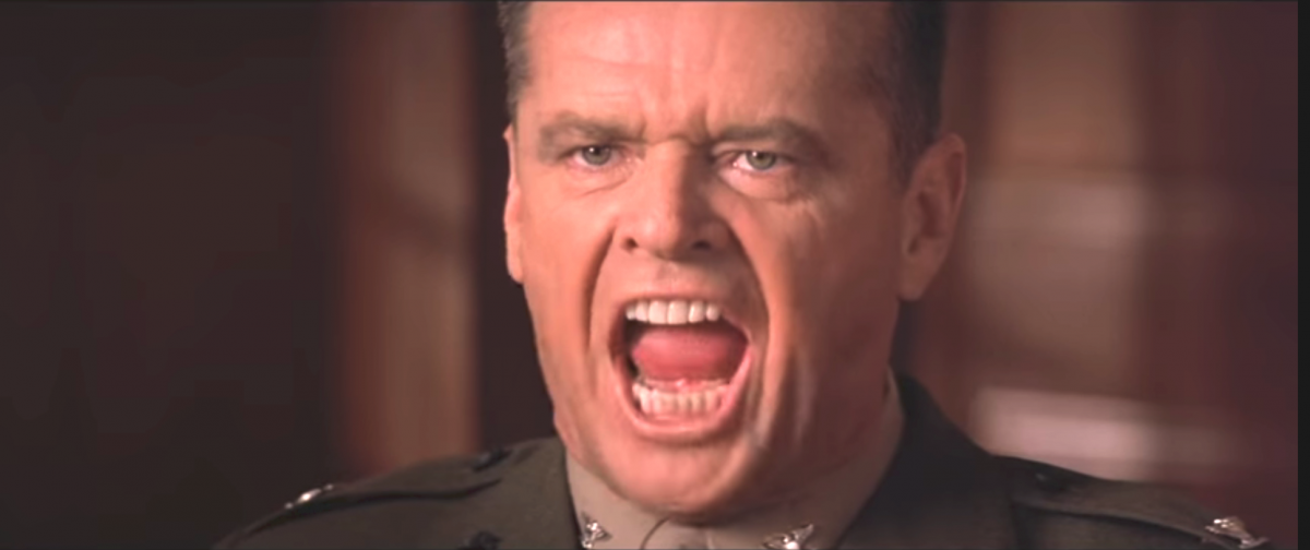 Jack Nicholson in his famous portrayal of Col. Nathan Jesup in A Few Good Men. (Screencap)