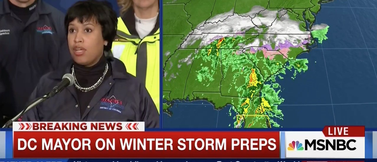 DC Mayor: Brace Yourselves ... 'Thunder Snow' Is Coming (screenshot: MSNBC)