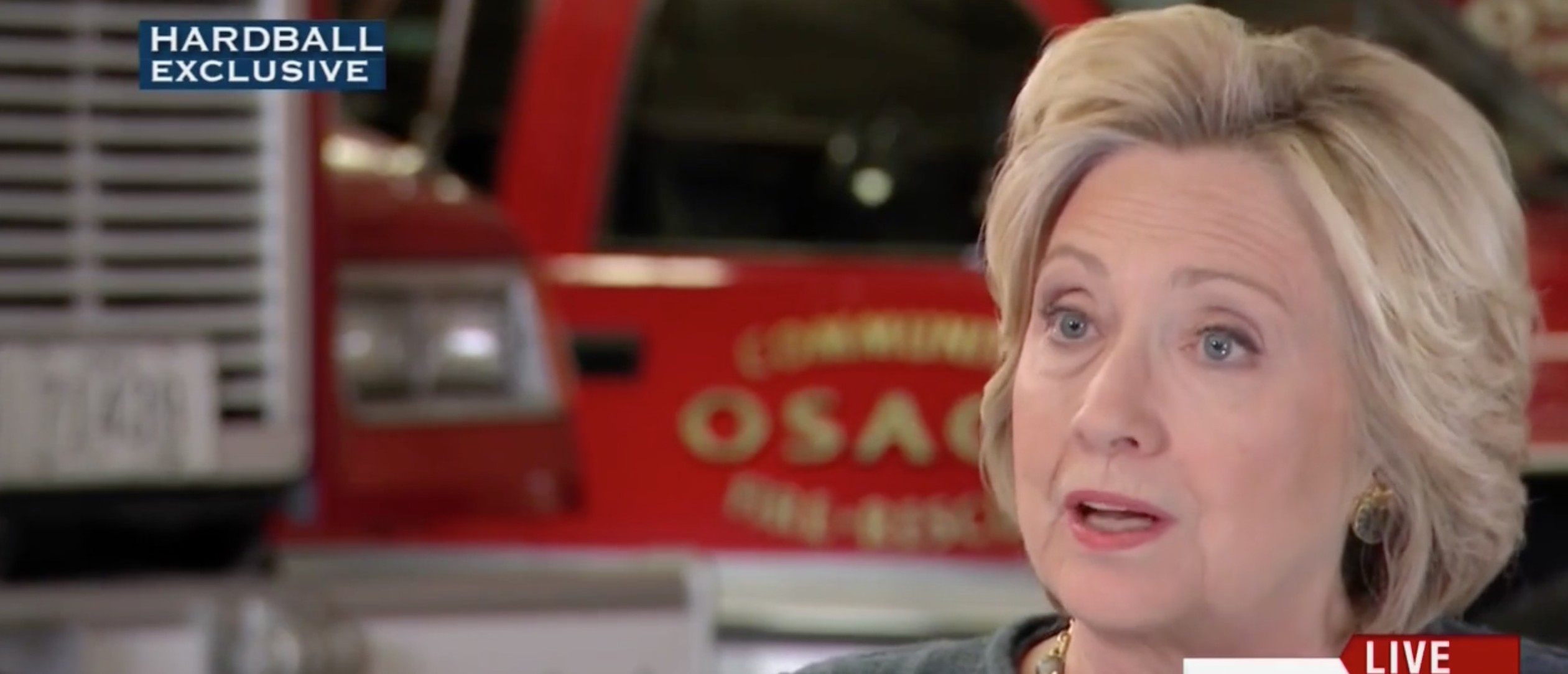 War On Police: Hillary Clinton Blames Police For Gun Violence And Death Of Children [screen shot MSNBC]