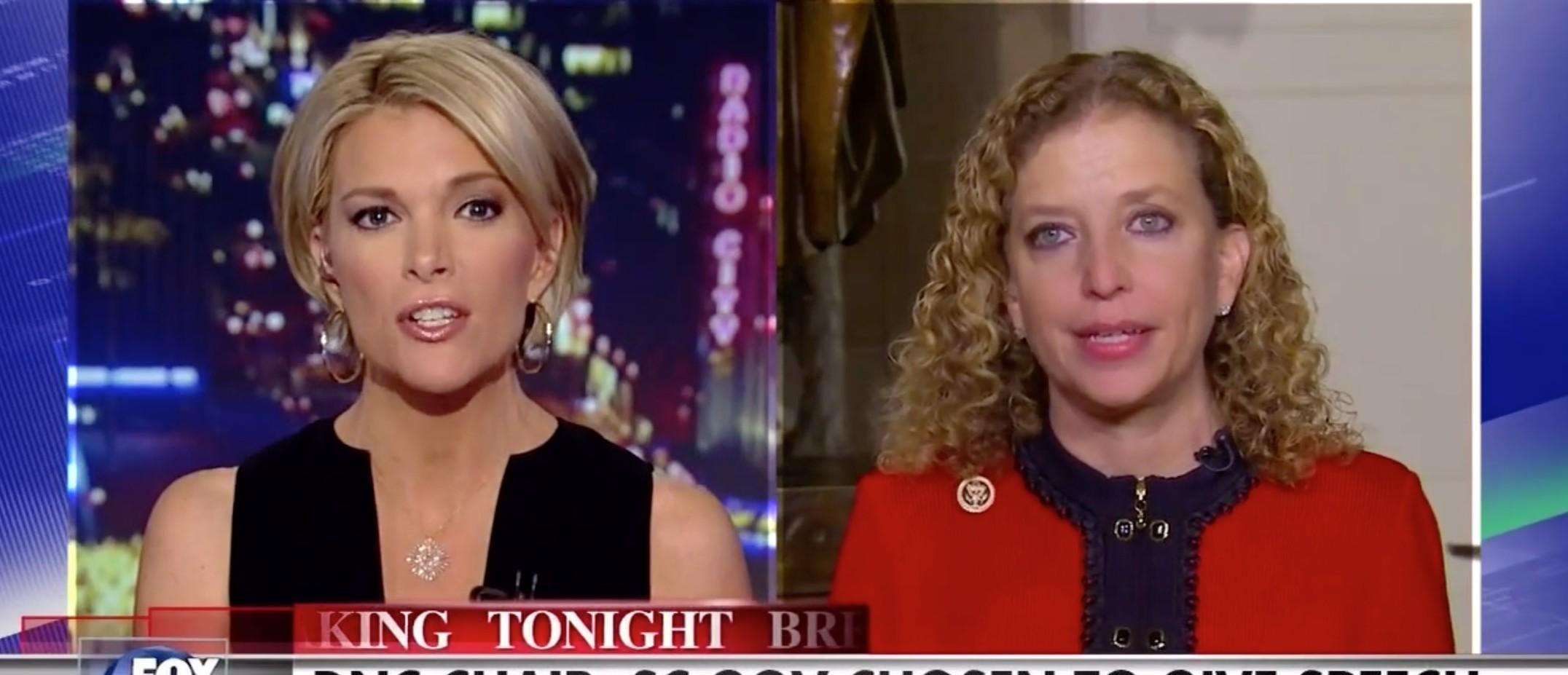 Watch Megyn Kelly Eviscerate DNC Chair Debbie Wasserman Schultz [screen shot Fox News]