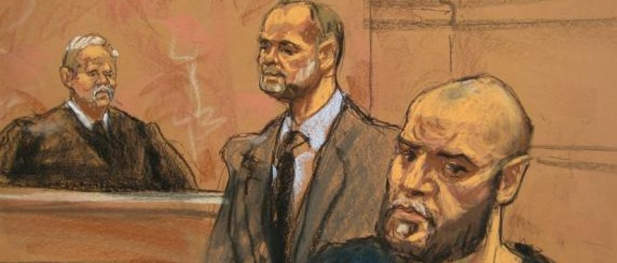 Muhanad Mahmoud Al Farekh, (R) appears with his defense lawyer Sean Maher (C) in federal court in Brooklyn, New York, January 7, 2016, in this courtroom sketch.  (REUTERS/Jane Rosenberg)