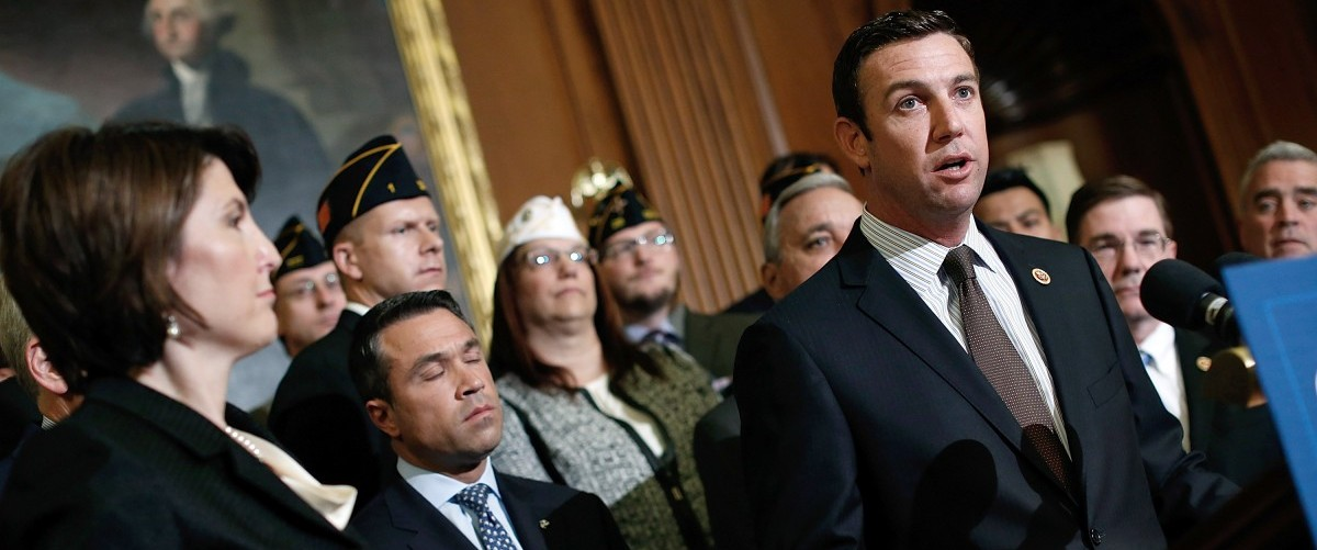 "Rep. Duncan Hunter (R-CA) speaks during a news conference held by House Republicans on ""Protecting America's Veterans"" at the U.S. Capitol May 29, 2014 in Washington, DC. Rep. Jeff Miller (R-FL), Chairman of the House Veterans Affairs Committee, and other leading Republicans have called for Secretary of Veterans Affairs Eric Shinseki to step down in the wake of an unfolding scandal relating to treatment of U.S. Veterans detailed in a recent investigative report.  Photo by Win McNamee/Getty Images."