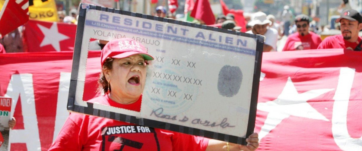 Rosa Ayala, joined nearly 2500 marchers during a rally demanding immigration reform on September 2, 2006 in Los Angeles, California. The rally was organized in support of Elvira Arellano, an illegal immigrant in Chicago, Illinois who found sanctuary in her local church to avoid deportation. (Photo by J. Emilio Flores/Getty Images)