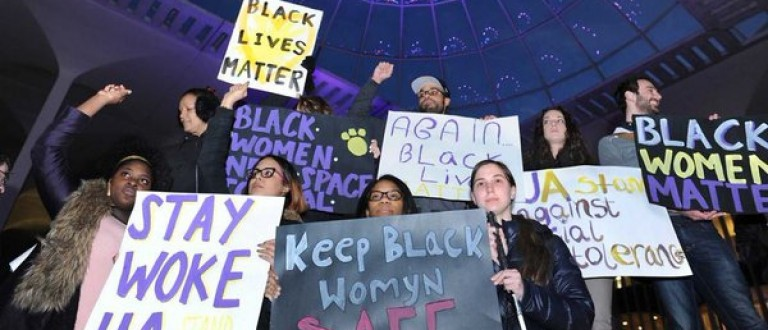 Black Lives Matter protesters following an alleged hate crime at SUNY Albany [Twitter]