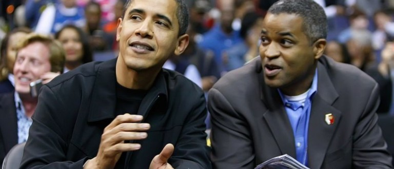 President Barack Obama talks with his friend Marty Nesbitt at the Chicago Bulls vs Washington Wizards basketball during their game played at the Verizon Center in Washington, D.C., Friday, February 27, 2009. (Photo by Harry E. Walker/MCT/MCT via Getty Images)