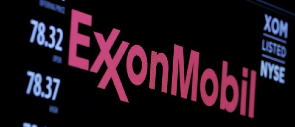 File photo of the logo of Exxon Mobil Corporation on a monitor above the floor of the New York Stock Exchange in New York