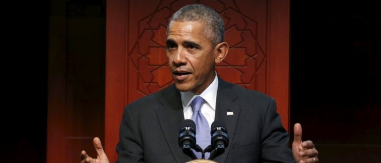 Obama delivers remarks at the Islamic Society of Baltimore mosque in Catonsville, Maryland