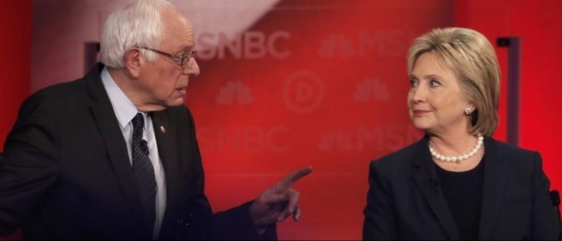 Bernie Sanders speaks directly to Hillary Clinton.  REUTERS/Mike Segar