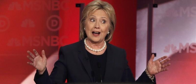 Hillary Clinton speaks. REUTERS/Mike Segar